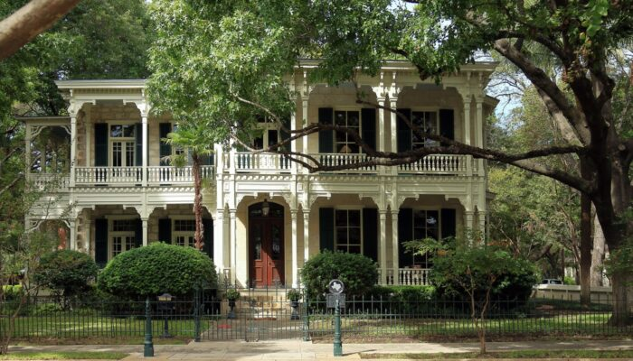 Victorian House and Trees in the King William Historic District, San Antonio, Texas
