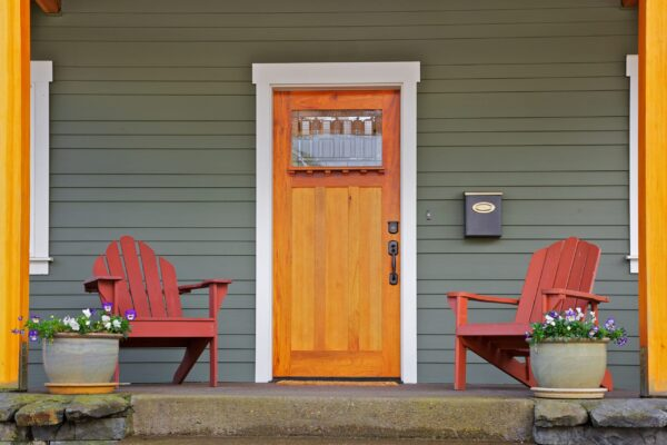 Mission,Style,Stained,Wood,Front,Door,With,Beveled,Glass,Surrounded