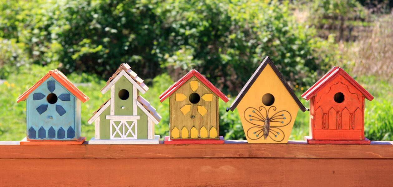 Collection,Of,Colorful,Wooden,Birdhouses.